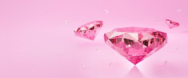 3dピンクダイヤモンドジュエリー石または宝石の光の輝き