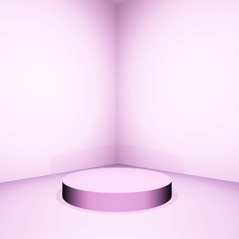 3d pink empty room with display podium
