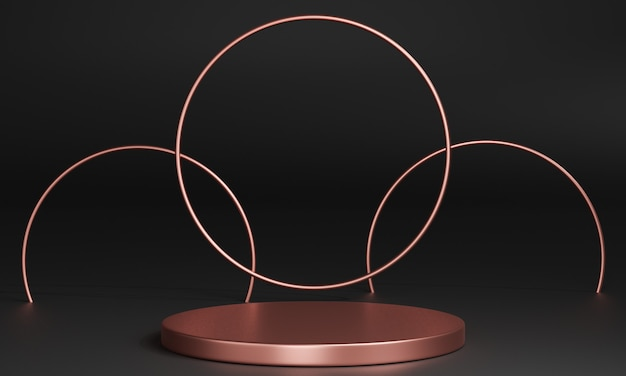 3d pink gold minimal podiums, pedestals, steps on the background and a round pink gold frame. mock up. 3d rendering.