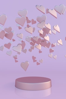 3d pink hearts podium for womens mothers valentines day birthday pastel  design vertical