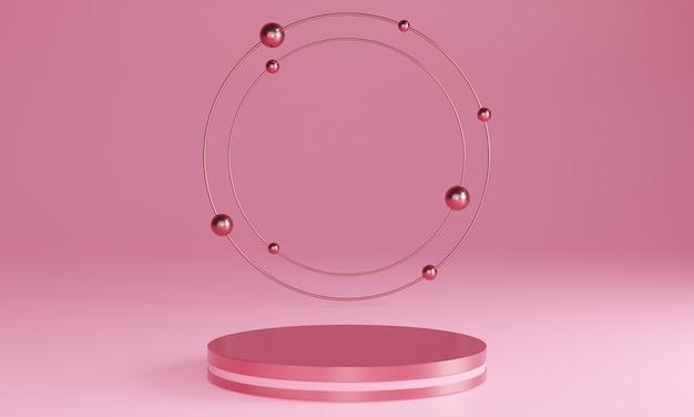 3d-розовые минималистичные подиумы, пьедесталы, ступени на заднем плане и круглая золотая рамка. макет. 3d рендеринг.