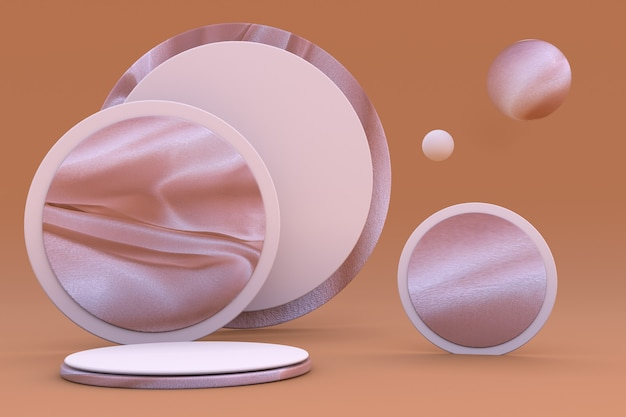 실크 패브릭 패턴 전시 플랫폼이 있는 배경에 3d 핑크 파스텔 연단 스탠드