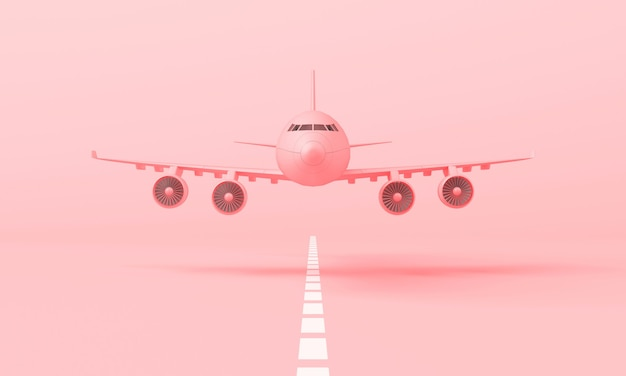 3d pink plane taking off from the landing strip. front side view, minimal style, 3d rendering