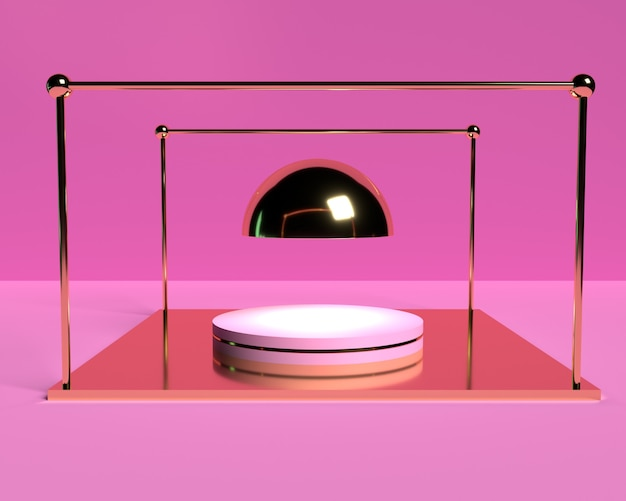 3d pink podium for product placement with gold element