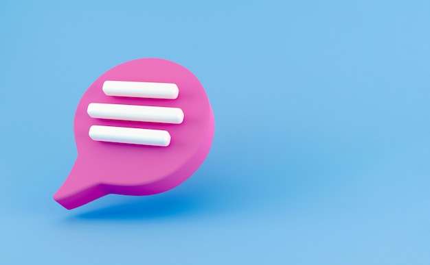 3d pink speech bubble chat icon isolated on blue background. message creative concept with copy space for text. communication or comment chat symbol. minimalism concept. 3d illustration render