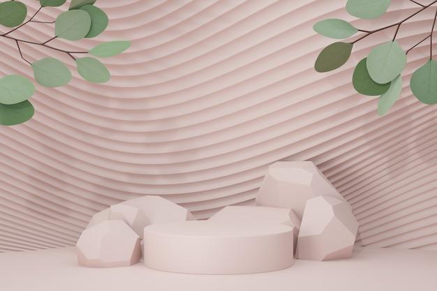 Розовый каменный подиум цилиндра 3d на стене волны кривой с зеленым деревом разрешения. 3d визуализация иллюстрации.