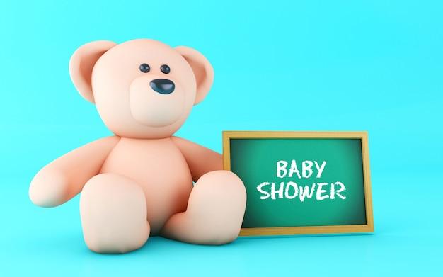 3d pink teddy bear with blackboard.