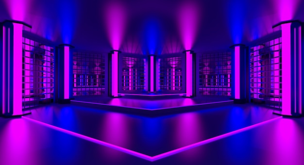 3d pink violet blue neon abstract background