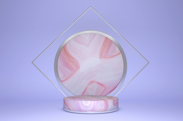 3d pink and violet rendering with podium and marble texture, podium product minimal background.