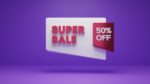 3d pink white render banner of 50% super sale