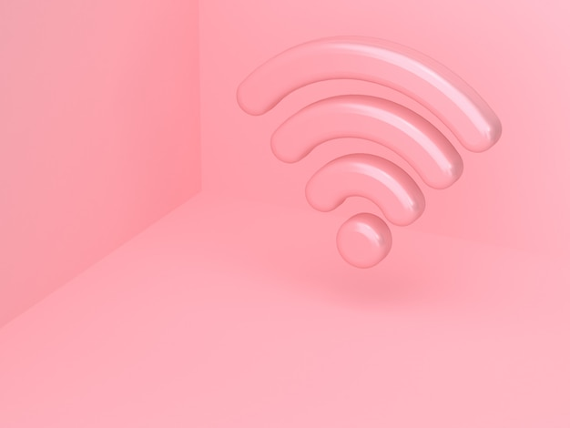 3d pink wi-fi icon reflection wall corner abstract