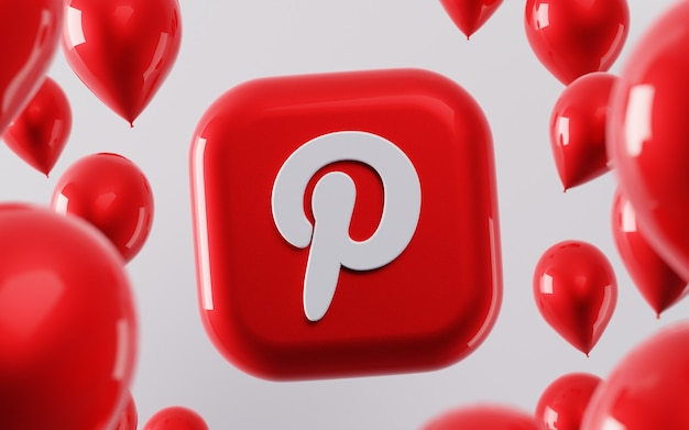 3d логотип pinterest с глянцевыми воздушными шарами