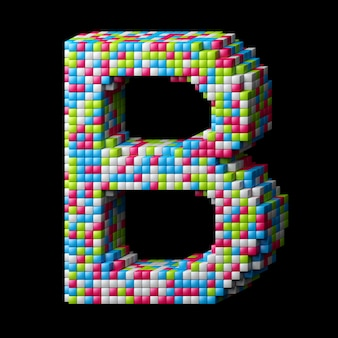 3d pixelated alphabet. letter b made of glossy cubes isolated on black.