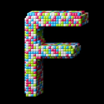 3d pixelated alphabet letter f