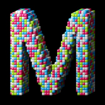 3d pixelated alphabet. letter m made of glossy cubes isolated on black.