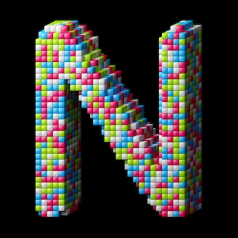 3d pixelated alphabet. letter n made of glossy cubes isolated on black.