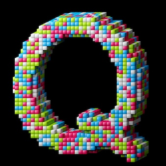 3d pixelated alphabet. letter q made of glossy cubes isolated on black.