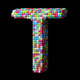 3d pixelated alphabet letter t
