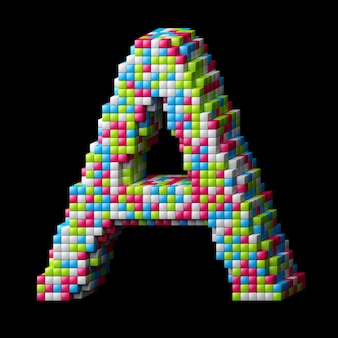 3d pixelated alphabet letter a