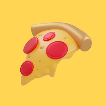 3d 피자 조각 만화 아이콘 그림입니다. 3d 음식 개체 아이콘 개념 절연 프리미엄 디자인입니다. 플랫 만화 스타일