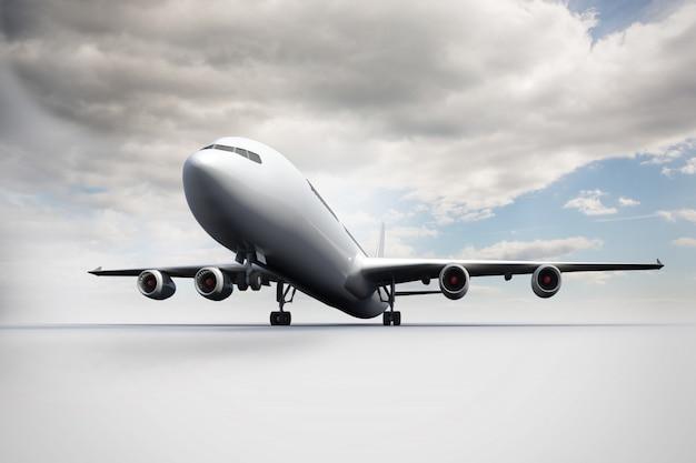 白い地面に立っている3d飛行機