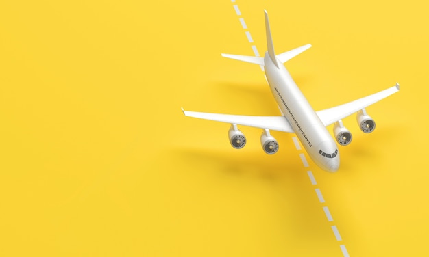3d plane taking off from the landing strip on yellow background. 3d rendering