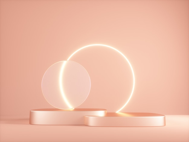3d platform with neon shining and transparent glass ring.