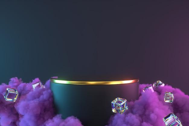 紫色の雲、光沢のある立方体、台座を備えた3d表彰台の抽象的な最小限のシーン。