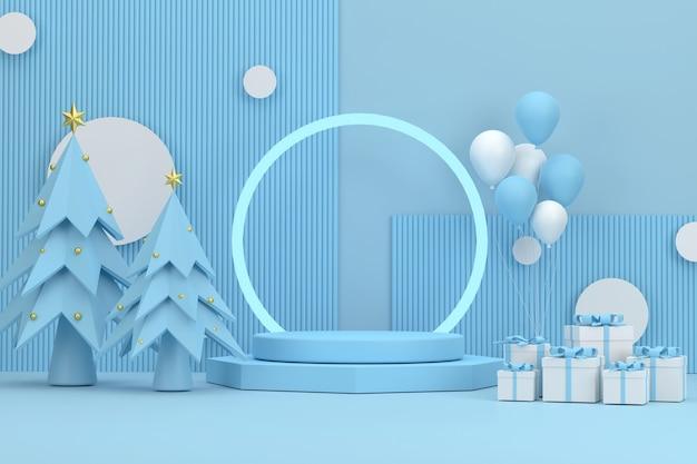 3d。クリスマスフェスティバルでかわいい青い背景の後ろにリングが付いている表彰台と風船