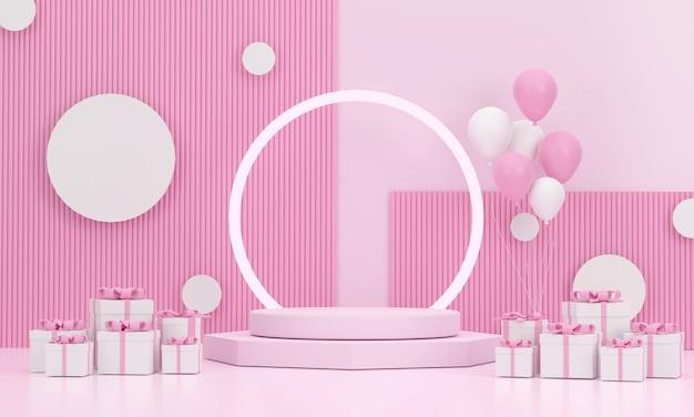 3d。クリスマスフェスティバルでかわいいピンクの背景と後ろにリングが付いている表彰台と風船