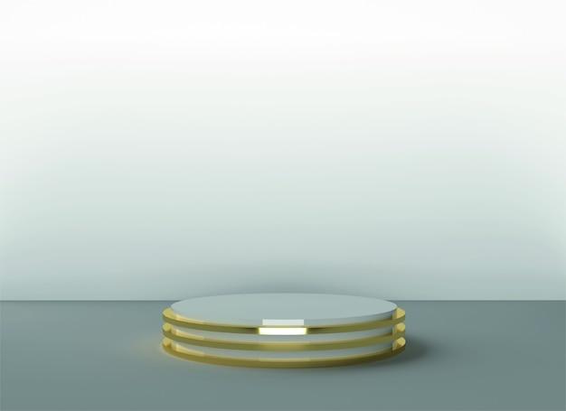 3d表彰台の背景背景パステルラグジュアリーゴールドホワイトリアルなレンダリング背景プラットフォームスタジオライトスタンド
