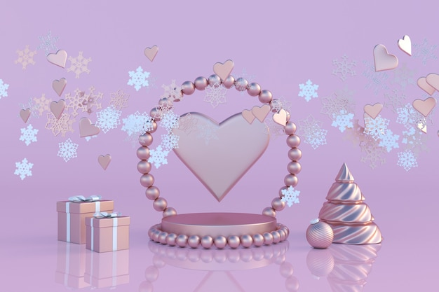 3d podium christmas tree snowflakes hearts festive design winter holiday st valentines day