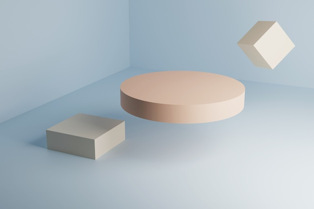 3d podium cylinder, rectangle and square in geometric corner.