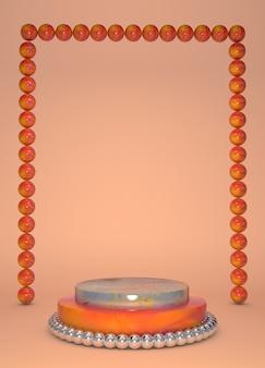 3d 연단 디스플레이 대리석 오렌지 배경. 뷰티, 화장품 프로모션 광고를위한 받침대 스탠드.