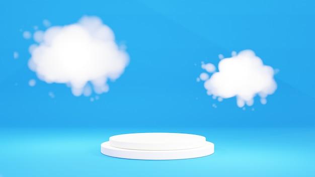 3d 연단 디스플레이, 구름과 파스텔 파란색 배경. 3d 렌더링
