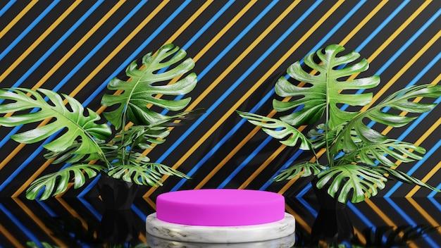 モンステラの葉と大理石を使った3d表彰台ディスプレイ製品のプレゼンテーション