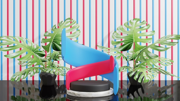 モンステラの葉ピンク青と白の背景を持つ3d表彰台ディスプレイ製品のプレゼンテーション