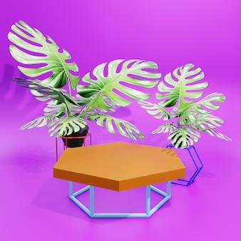 ピンクの背景とスタンドブルーの3d表彰台ディスプレイ製品プレゼンテーション