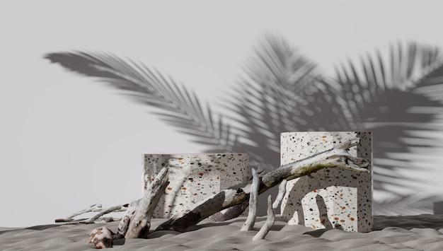 3d 연단 디스플레이 세트입니다. 공간 흰색 배경을 복사합니다. 화장품 또는 미용 제품 홍보 모형. 돌과 천연 나무로 만든 받침대.