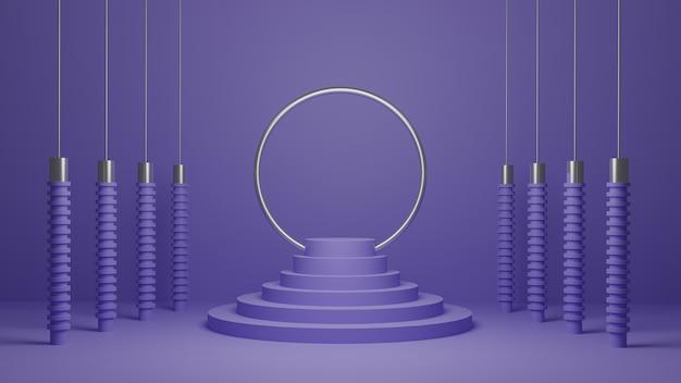 金属とゴムの形状の3d表彰台ディスプレイ。抽象的な最小限の紫白の製品プロモーション台座。