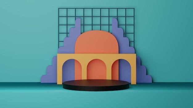 Обои для рабочего стола 3d подиум с геометрическими фигурами с синим фоном высокого качества изображения