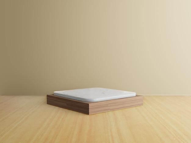 3d геометрический подиум с деревянным полом
