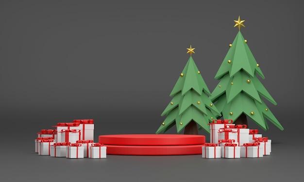3d. подиум, подарочная коробка, новогодняя елка на рождество и новый год на черном фоне