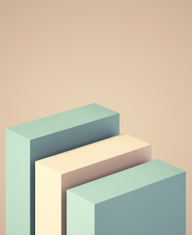 3d podium for mock up for product presentation, abstract pastel color background, 3d rendering
