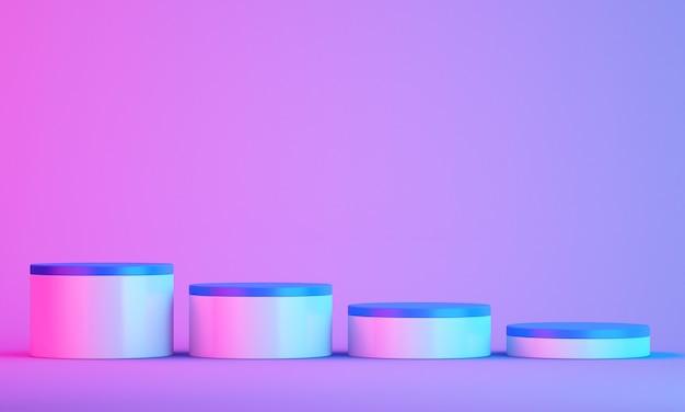 3d podium for mock up for product presentation, colorful background, 3d rendering