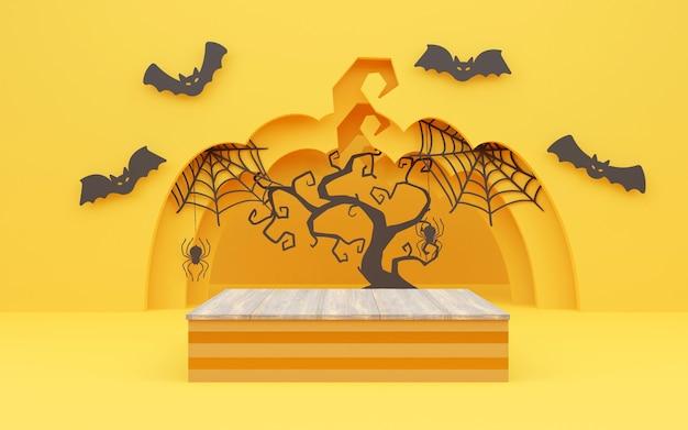 할로윈 호박, 박쥐, 무서운 나무가 있는 3d 연단 또는 받침대 제품 전시 또는 할로윈 휴가 광고