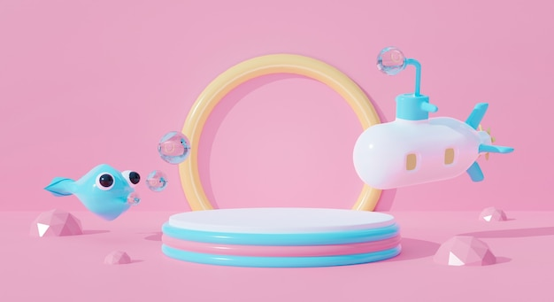 3d podium on pastel background abstract water. submarine cartoon kid and fish.