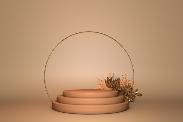 3d podium, pedestal round gold arc on pastel beige background with flower. fresh beauty or spring vibes with copy space.