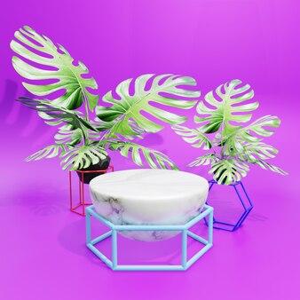 大理石と紫の背景を持つ3d表彰台製品