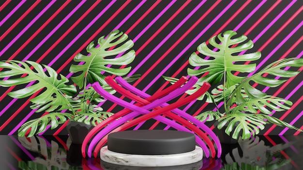 モンステラの葉飾り付きの3d表彰台製品